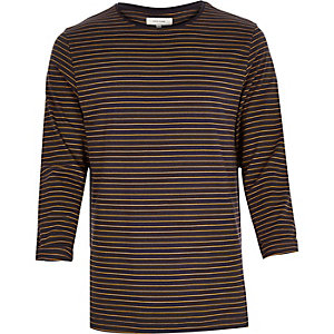 Navy and yellow stripe rolled sleeve top