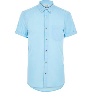 Blue acid wash short sleeve shirt
