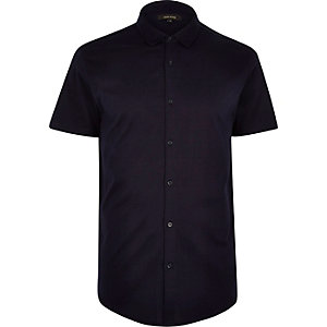 Navy button through short sleeve shirt