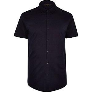 Navy button down short sleeve shirt