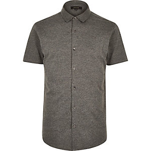 Grey button through short sleeve shirt