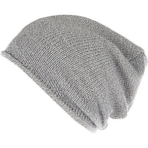 Grey knitted slouchy beanie hat