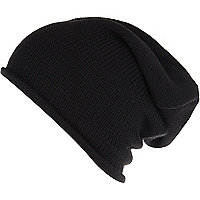 Black knitted slouchy beanie hat