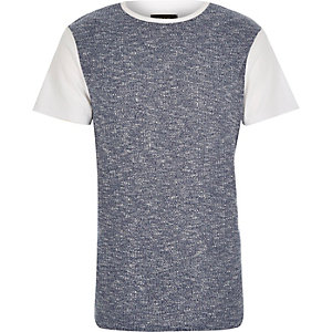 White block colour ribbed front t-shirt