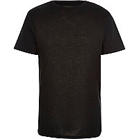 Black ribbed front t-shirt