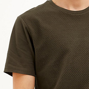Khaki dotty texture t-shirt