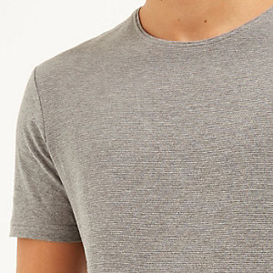 Grey marl textured ribbed t-shirt