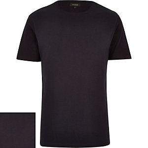 Navy textured ribbed t-shirt