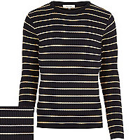 Navy stripe ribbed jumper