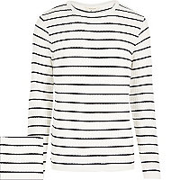 White stripe ribbed jumper