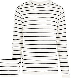 White stripe ribbed jumper