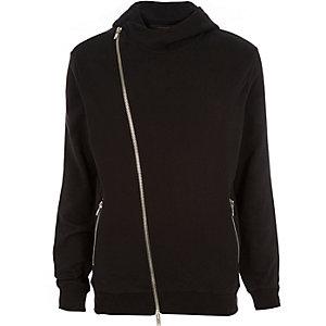 Black asymmetric zip hoodie