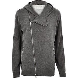Grey marl asymmetric zip hoodie
