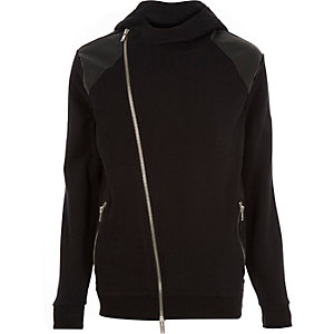 Black patch asymmetric zip hoodie