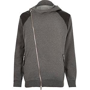 Grey asymmetric zip hoodie