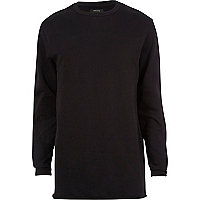 Black longer length raw hem sweatshirt