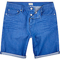 Bright blue slim denim shorts