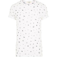 White micro flag print short sleeve t-shirt