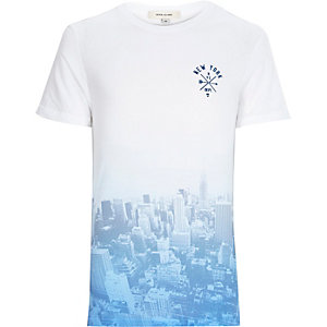Blue faded New York City print t-shirt