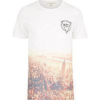 White NYC sepia fade print t-shirt