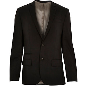 Black wool-blend slim suit jacket