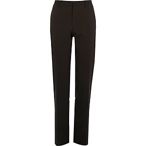 Black wool-blend slim suit trousers