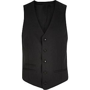 Black wool-blend vest