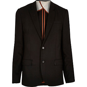 Black ponte twill slim blazer