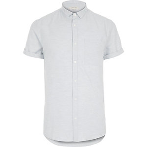 Blue marl plain short sleeve shirt