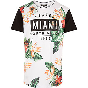 White floral Miami print curved hem t-shirt