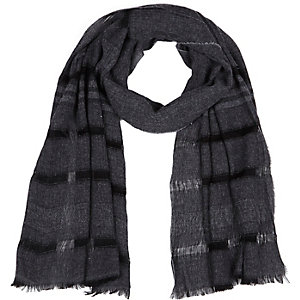 Grey black stripe lightweight scarf