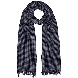 Navy gingham lightweight scarf