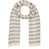 Grey striped lightweight scarf