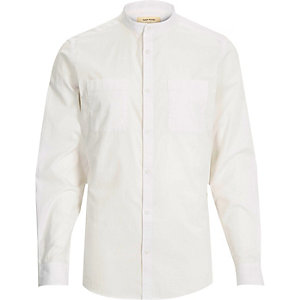White Oxford long sleeve grandad shirt