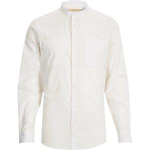 White Oxford long sleeve grandad shirt