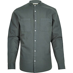 Green Oxford long sleeve grandad shirt