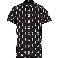 Navy pineapple print short sleeve shirt