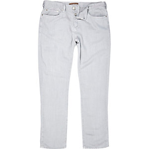 Grey linen-Tencel blend slim trousers