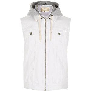 White denim hoodie gilet