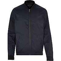 Navy blue casual contrast neck bomber jacket