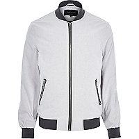 Grey chambray bomber jacket