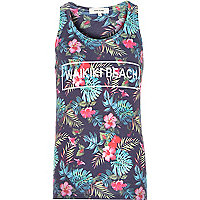 Blue tropical print Waikiki Beach vest