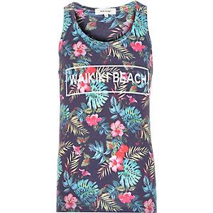 Blue tropical print Waikiki Beach vest
