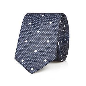 Navy silk spot texture tie