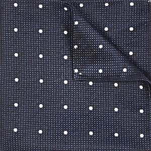 Navy silk spot texture pocket square