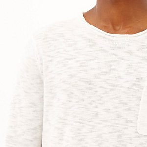 White marl lightweight pocket jumper