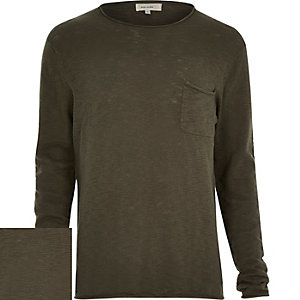 Khaki marl lightweight pocket jumper