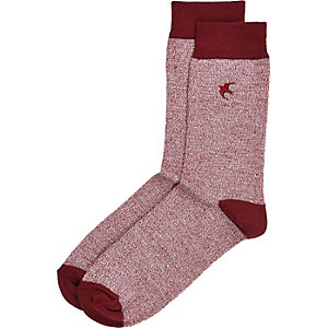 Red reverse stitch ankle socks