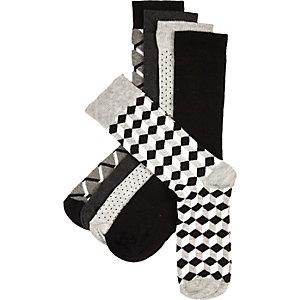 Grey geo print socks pack