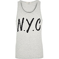 Ecru NYC print vest top